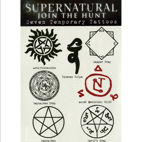 Supernatural 7 Temporary Tattoos